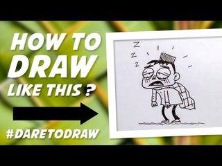 Cara Menggambar Anak Ngantuk Waktu Sahur