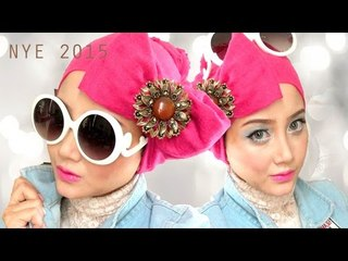 New Year's Eve party Indonesia make up + hijab tutorial