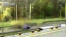 Driver thrown from car after smashing into highway barriers - 08.04.14