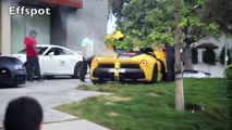 LaFerrari BREAKS DOWN doing Burnouts and Nearly Crashes in Beverly Hills with Porsche GT3