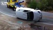 Overturned car gets overturned..