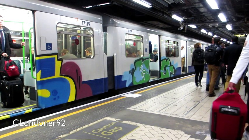 Vandalised District Line train at Victoria Station September 2015