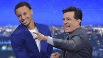 Stephen Curry Plays Heated Game of Laundry Basketball With Stephen Colbert