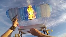 Setting fire to a parachute in mid air! (People are Awesome)