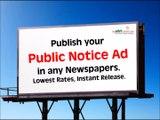 Public Notice Newspaper Ads, Public Notice Advertisement in Local and Regional Newspaper