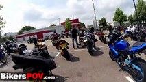 Craaaaazzzzy!!! Bikers meetup. Stunts, wheelies, stoppies, burnouts. London Ride of Freedo