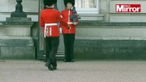 Oups ! Un soldat glisse pendant la relève de la garde à Buckingham Palace !