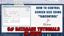 P(9) C# Database Tutorials In Urdu - how to control Screen size using TabControl