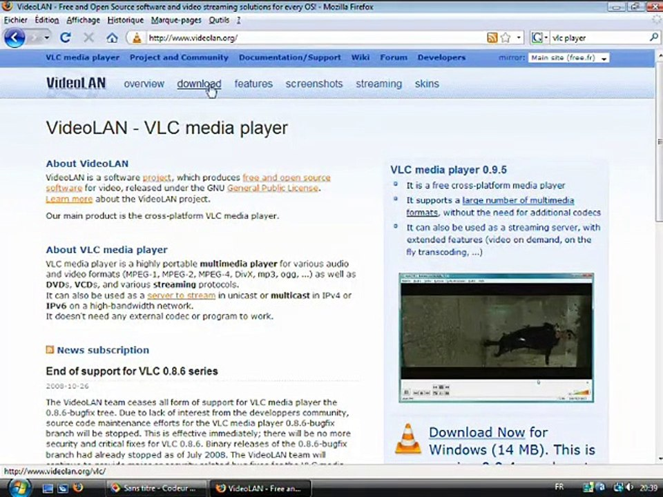 Installer VLC Playeur, le lecteur vidéo universel