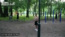 Russian Gymnast Shows His Pole Workout