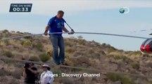 Exploit d'un funambule au dessus du Grand Canyon