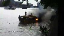 Londres : un bateau prend feu sur la tamise, 30 personnes finissent à l'eau