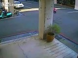 Girl fleeing police crashes moped and flies into a pillar.