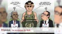 Dessin de Kak : Michel Sapin chimiste, Vladimir Poutine super tsar