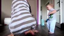 Dance battle between a baby and his dad... So cute!