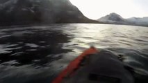 Kayaker has near miss with a whale