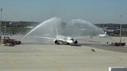 Qatar Airways A350 XWB Wassertaufe / Arch of water ceremony @ Munich Airport