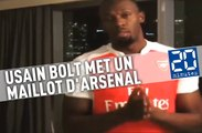 Usain Bolt, fan de Manchester United, met un maillot d'Arsenal après avoir perdu un pari