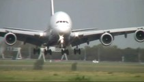 Emirates Airlines Airbus A380-800 [A6-EDV] slight crosswind landing  Amsterdam Schiphol Airport
