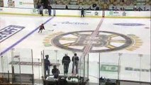 9 year old kid hockey phenom scores amazing goal before Bruins game in penalty shot shooto
