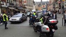 Lille: arrivée des motards en colère à Lille. Les motards bloquent la Grand place