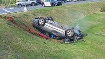 Accident : une femme fait des donuts en voiture