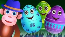Surprise Eggs Nursery Rhymes  Five Little Monkeys  Learn Colours & Objects