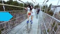 Amazing.,,Glass Walkway Cracks Under Tourists' Feet in China