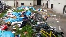 Les migrants jettent leurs poubelles par les fenêtres