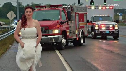 Paramedic bride photographed rushing to accident scene in her wedding dress