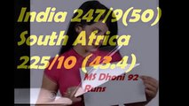 india vs south africa 2nd ODI -- India won by 22 runs India vs South Africa, 2nd ODI