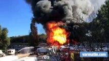Violent incendie de caravanes à Hyères