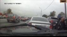 Road rage qui fini très vite... Quand le gros chien sort sa tête de la voiture!!