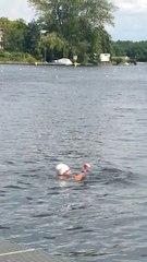 Arrivée d'Axel Reymond sur le 25km eau libre à Berlin 2014