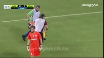 Greek stretcher bearer drops injured player and then falls on top of him - this is hilarious - Copie