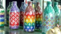 Diy Recycled Glass Bottles | Home Decor Ideas |Painted white bottle collection