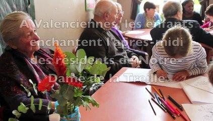 Valenciennes. Des enfants rendent visite aux résident de Notre-Dame de la Treille