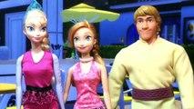 アナとエルサとクリストフがケン人形のハンバーガーショップへ!アナがケンに一目ぼれ?粘土で作ったハンバーガー見てね!