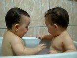 Twins Brothers Enjoying Bath Time