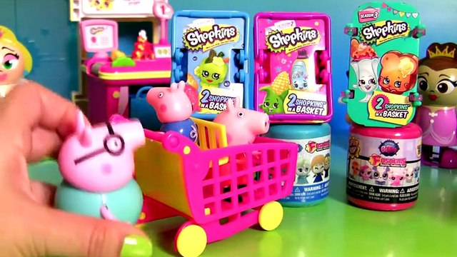 Peppa Pig & George Go Shopping Shopkins Surprise Baskets + Fashems Disney Frozen Mashems Paw Patrol