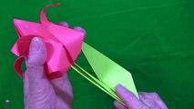 Cómo hacer un tulipán de papel. Papiroflexia. Origami. Flores de papel