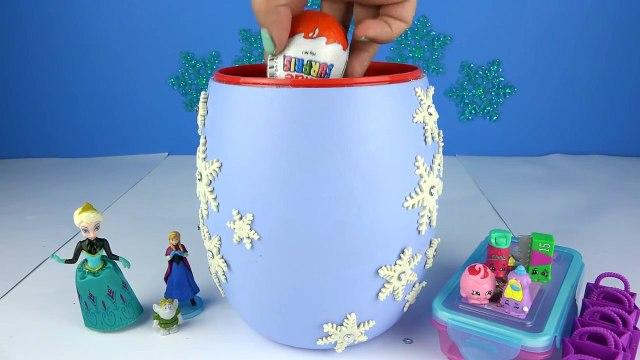 BIG FROZEN BRAIDS ELSA Surprises Toys PlayDoh Kinder Eggs Barbie Chelsea Anna Shopkins Fri