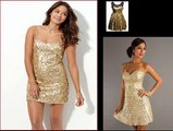 Gold & Sequin Dress | Cocktail Long Sleeve Dress with Silver, White, Gold Sequin
