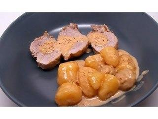 Recette de filet mignon de porc au maroilles, champignons et pommes de terre (Cookeo)