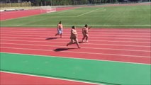 Funny 3 Sumo Wrestlers Battling it out on the RUNNING TRACK