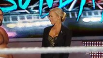 WWE Raw 8-17-15 Dolph Ziggler returns and helps Lana against Rusev and Summer Rae
