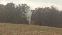 Loose military blimp grounded after hours flying unmanned
