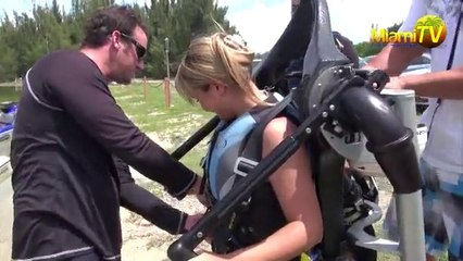 Jenny Scordamaglia tries out JET PACK Adventure in Miami 2013