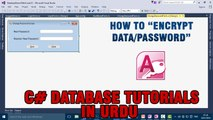 P(8) C# Access Database Tutorials In Urdu - How to Encrypt Data/Password