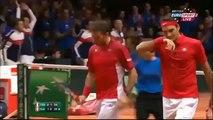 Full 2nd Set Federer/Wawrinka vs Gasquet/Beneteau Davis Cup 2014 Final
